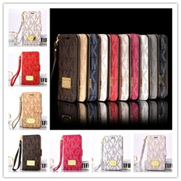 Wholesale Customized Letter - Luxury Wallet Flip PU Leather Case for iphone x 7 8 6s plus Card Slot Pocket letter Case with Lanyard Holder Cover for Samsung s8 note 8 hot