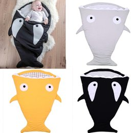 Wholesale baby winter sleep bag - Envelope Shark Sleeping Bags Ins Baby Strollers Bed Newborn Winter Swaddle Kids Cartoon Blankets Fashion Wrap Hot Bedding Sleep Sacks