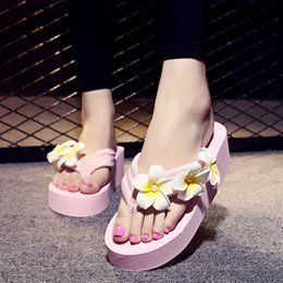 Wholesale Black Floral Print Heels - Womens Flowers Bohemian Platform Slide Sandals Thick Bottom Flat Anti-slip on Summer Black Beach Boho Sandals for Girls