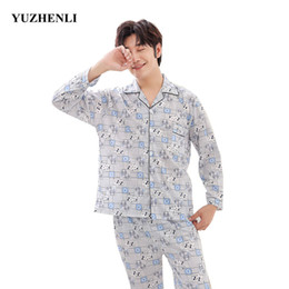 a1768c7396 Yuzhenli Hot Sale 2018 Men Pajamas Long Sleeve Spring Autumn Winter Male Pajama  Set Men Cardigan Pajamas for Set Sleepwear