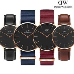 Wholesale women leather watch - 2018 New Daniel W- watches 40mm men watches 36mm Women Watches montre homme luxury Quartz watch men Relogios masculino reloje