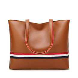 Wholesale Colour Bags - Big bag woman American and European Colour Tote bag 2018 New large capacity Women's bag 100 lap stripes single shoulder handbag