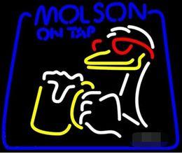 Torneiras de cerveja de bar on-line-Sinais de Néon Presente Molson Em Torneira de Cerveja Bar Pub Loja de Festa de Parede Da Sala de Recreação Janelas de Exibição de Luz Neon 24x20