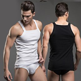 Wholesale superbody underwear - Superbody Cotton New Men Underwear Boxer Fashion Tank Tops Solid Vest Brand Sexy Tanks Sleeveless Shirt Tops+Briefs Set Suit