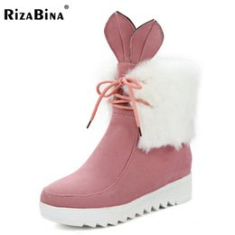 Wholesale cute warm ups - RizaBina Women Cute Lace Up Boot Snow Botas Mujer High Increasing Shoes Woman Winter Warm Thicked Fur Ankle Boots Size 34-43