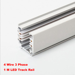 Wholesale Circuit Wiring - Black White 1M 3 Phase Circuit 4 Wire Track Rail,Track light rail Connectors,Universal Rails,aluminum track,lighting fixtures