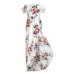Wholesale White Cold Shoulder Dress - 2018 Summer Maxi Dress Chiffon Vintage Cold Shoulder Bohemian Beach Long Dresses Retro Party Vestidos 5XL WS5629W