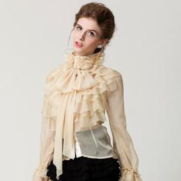 Shirt frauen prinzessin online-Neue Runway hot Designer Shirts Frauen Damen Prinzessin Royal Chiffon Rüschen Langarm Bogen Cascading Rüschen Bluse Shirt Top