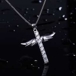 Wholesale Wing Heart Necklace Diamond - Silver Full Diamond Cross Angel Wing Pendant Necklace Fashion Simple Japanese and Korean Style Jewelry