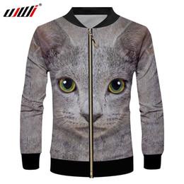2019 chaqueta de patrón de gato UJWI Hombre Primavera Zip Jacket Cat Patrón 3D Impreso Horrible Verde Negro Costura Ojos Animal Escudo de Gran Tamaño 5XL chaqueta de patrón de gato baratos