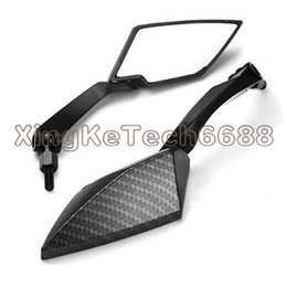 Wholesale Honda Fiber - 2x Diamond Carbon Black Fiber Silver Motorcycle RearView Side Mirror For Honda Suzuki 8MM 10MM