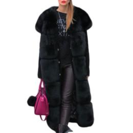 2019 zorros de revestimiento Shaggy Luxury Patchwork Artificial chaleco de piel de zorro Mujeres de la manera de invierno Vintage Ladies Feux Faux Fox Furs A-Line abrigo Casual FV051 zorros de revestimiento baratos