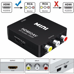 Wholesale Hd Composite Video - Mini HDMI to AV RCA Converter Composite HDMI to RCA AV Video Converter Adapter Full HD UP Scaler 1080P HDMI2AV for HDTV Standard TV Monitor