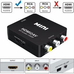 Wholesale Rca Composite Converter - Mini HDMI to AV RCA Converter Composite HDMI to RCA AV Video Converter Adapter Full HD UP Scaler 1080P HDMI2AV for HDTV Standard TV Monitor
