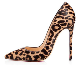 zapatos de noche para mujer Rebajas 2018 mujeres atractivas del leopardo de gamuza vestido de noche puntiagudo bombas Extreme High Heels Stiletto Ladies Party Shoes más tamaño