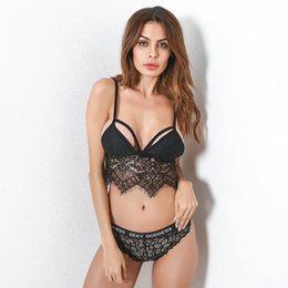 8012aa5397158 Hot Sexy Lace Vest Wrapped Chest Strap Mesh Lace Bralette Lingerie Crop  Tops Bras for women underwear + panties