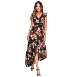 Wholesale Long Tail Elegant Gown - Female Asymmetrical Printing Maxi Dresses V Neck Short Sleeve Backless Elegant Forked Tail Pleated Long Dress Ball Gown
