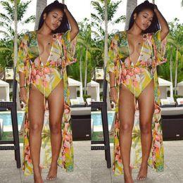 8b325864a0b20 2018 New Sexy Women Deep V Neck Bikini Set+Long Sleeve Cover Swimsuit  Floral Print Yellow Summer Beach Wear Fashion Bathing Suit