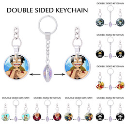 hat keychains wholesale Coupons - Japanese Anime Key Chain One Piece keychains Luffy Straw Hat Skull Double Pendants Keychain keyring Boyfriend gifts Trinket
