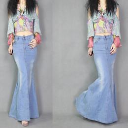falda vaquera hasta el suelo Rebajas de cintura alta pantalones vaqueros de las mujeres europeas de diseño de moda BodyCon sirena maxi falda larga duración piso más el tamaño SML