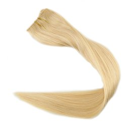 Wholesale 12 613 Weft Hair Extension - Double Weft Flip Hair Mircale Wire Remy Hair Extension Hairpieces Halo on Invisible Hair Extension Light Blonde #613