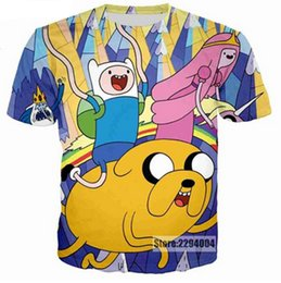 Wholesale Adventure Time Finn Jake - Adventure Time Finn and Jake on Their Own Acid Trip 3D Printed Women men's Casual Short Sleeves T-shirt F01