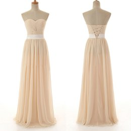 Wholesale white front lace up corset - Champagne New Cheap Bridesmaid Dresses Sweetheart Chiffon Full Length For Wedding Bridal Party Prom Dress Corset Back Pleated