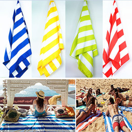 Wholesale Microfiber Pouch Wholesale - 76*155cm Microfiber Quick Dry Stripe Beach Towel Soft Pouch And Elastic Hook For Hanging Off Ground Beach Blanket For Camping Travel WX9-414