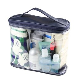 Wholesale Trunks Transparent - 2017 New Fashion Casual Clear Case Cosmetic MakeUp Bag Dark Blue Transparent Hanging Toiletry Travel Trunk Large Organizer