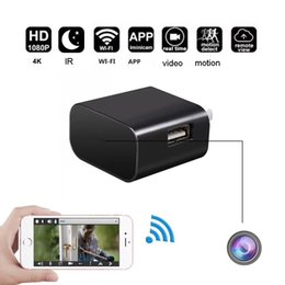 Wholesale micro camera motion detection - Wireless HD 1080P H264 WiFi P2P Wall Charger Mini Camera Motion detection Adaptor WIFI Micro CAM Socket DVR Recorder with IR night