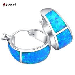 Wholesale Blue Opal Silver Earrings - whole saleFree shipping High Quality Blue Fire Opal Silver Stamped Hoop Earrings Fashion Jewelry Opal Jewelry Gifts OE061A