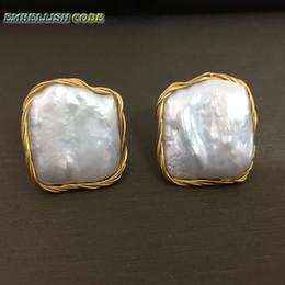 2019 disegni orecchini d'oro 2018 NUOVO stile di design fatto a mano avvolgimento elegante barocco perla color oro blocco quadrato reale perle naturali orecchini