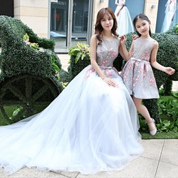 7c5c0e83ae3b9a Family Matching Outfits Mother Daughter Wedding Dresses Floor Length Mom  and Daughter Baby Dress Tutu Skirts Blue Photograph