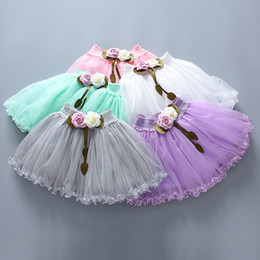 Wholesale 12 Days Christmas Costumes - 5 Colors Summer Girls Flower skirt for Kids Children Short Party Dance Skirt Baby Girls Gauze Lace TUTU Skirts Princess Party Costumes