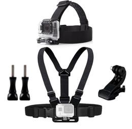 2019 gopro set Montagem de cinto de cabeça de peito para Gopro Hero 5 4 acessórios conjunto Câmera de ação de SJCAM SJ4000 Go pro J montagem para cinta de cinto de cabeça gopro set barato