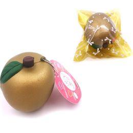 Wholesale Fruit Ornaments - Golden Apple Squishy Phone Straps Charm Pendant New Jumbo Fruits Squishies Decompression Toys Children Toy Gift 4 9ks C R