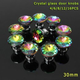 Wholesale Furniture Handles Crystal - 4 6 8 12 16 Pcs Set Colorful Clear Crystal Glass Door Knobs Furniture Handle For Drawer Cupboard Cabinet Wardrobe Hogard
