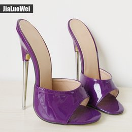 Wholesale high heel 18cm - jialuowe 2017 summer women slippers 18cm ultra high heels Metal heel shoes woman Sexy Fetish sandals Purple silver black shoes