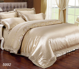 Wholesale King Size Luxury Comforter Sets - Luxury silk bedding set king size queen size satin silk bed set ruffle tencel bed linens duvet comforter cover 5992