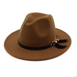 936fa59ec00 2018 New Fashion TOP hats for men   women Elegant fashion Solid felt Fedora  Hat Band Wide Flat Brim Jazz Hats Stylish Trilby Panama Caps