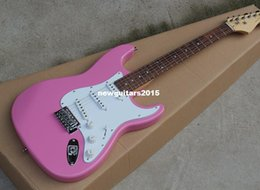 Wholesale Guitar Pickups White - 2018 Pink Body Electric Guitar with White Pickguard,3 Pickups,Chrome Pickups Offer Customized