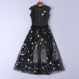vestidos para estrelas Desconto 2018 preto o pescoço mangas de malha designer vestido de pista de estrelas de Milão estrelas lua impressão vestidos bordados mulheres 90385