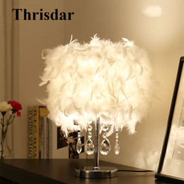 Wholesale white feather pendant light - Thrisdar E27 Warm White Feather Table Lamps With Crystal Pendant Creative Hotel Bedroom Bedside Reading Table Desk Ambient Light