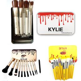 Wholesale Wood Hair - Kylie Makeup Brushes 12 pcs set Professional Eyeshadow Brush Set Foundation Powder Beauty Tools Cosmetic Brush Kits with Retail Box