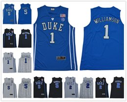 44b78526fdfd NCAA Duke Blue Devils  1 Zion Williamson 35 Bagley  5 RJ Barrett 2 Reddish  Royal Black 2018 White College Basketball Jerseys S-3XL