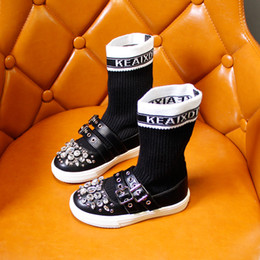 botas de couro de cristal Desconto Meninas Botas de Cano Alto Meias de Cristal Botas Meados de diamantes de Inverno Outono Genuíno Couro Crianças Sapatos de Fundo Macio Princesa Sapatos XXP1