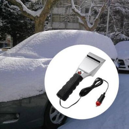 Wholesale Windshield Ice - Auto Winter Snow Ice Brush Shovel Electric Windshield Heated Scraper Removal 12V Auto Car Windshield Ice Snow Scraper CCA8884 48pcs