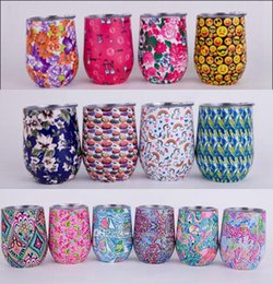 Wholesale Insulating Walls - 14 colors Foral egg cup Double Wall Stainless Steel Print Beer Vacuum Insulated mug drinking coffee mugs Cup Hydration Gear AAA396