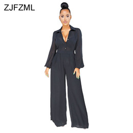 ZJFZML Autumn Chiffon See Through Jumpsuit Women Sexy Deep V Neck Long  Lantern Sleeve Overall Casual Black Party Wide Leg Romper see through  jumpsuits ... d8296ee5dc19