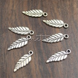 Wholesale Leaf Shaped Beads - 10 Pcs Alloy Space Pendant Beads Great Long Leaf Shape DIY Gift for Men Women Jewelry Trendy Handmade Accessories